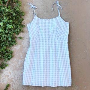 Madewell Blue Gingham Tie-Strap Cotton Mini Dress